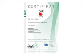 Zertifikat EN ISO 9001:2008